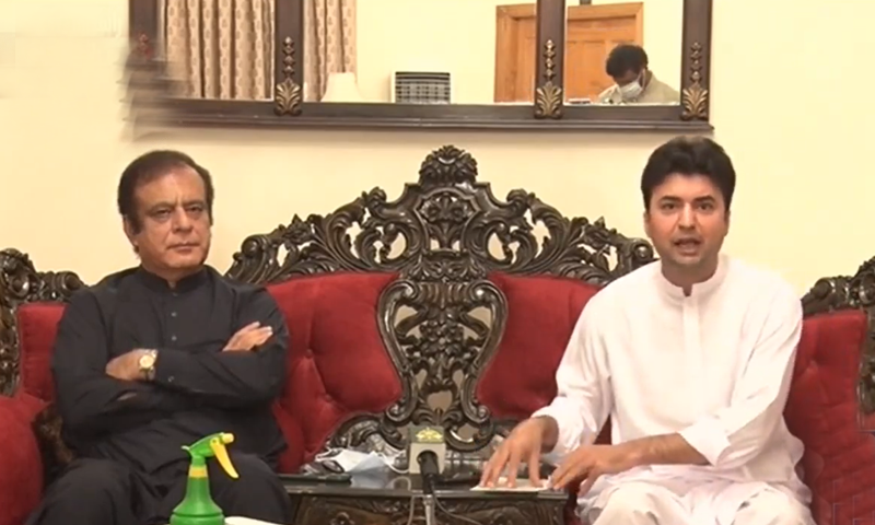 Information Minister Shibli Faraz, along with Communications Minister Murad Saeed, was speaking at a media briefing. Faraz, along with Communications Minister Murad Saeed, was speaking at a media briefing. Faraz, along with Communications Minister Murad Saeed, was speaking at a media briefing. — DawnNewsTV