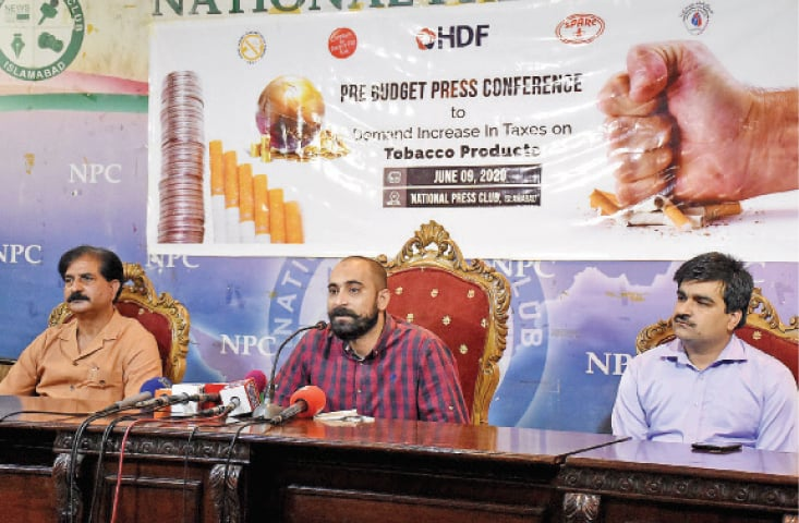 Sanaullah Ghumman of Panah, Zahid Shafiq of HDF and Khalil Ahmed of Sparc speak at the press conference at the National Press Club on Tuesday. — White Star