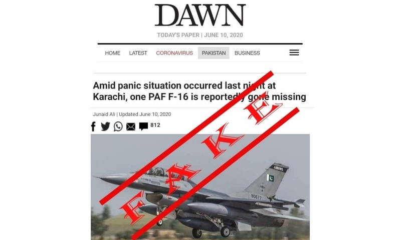 Fake news screenshot about 'missing F-16' posing as Dawn.com surfaces on social media