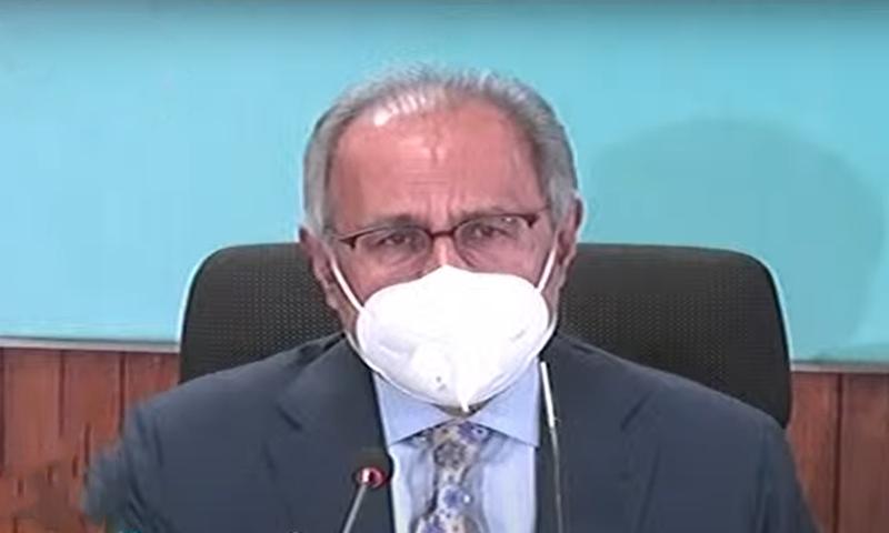 Adviser to the Prime Minister on Finance Hafeez Sheikh addresses the media. — DawnNewsTV