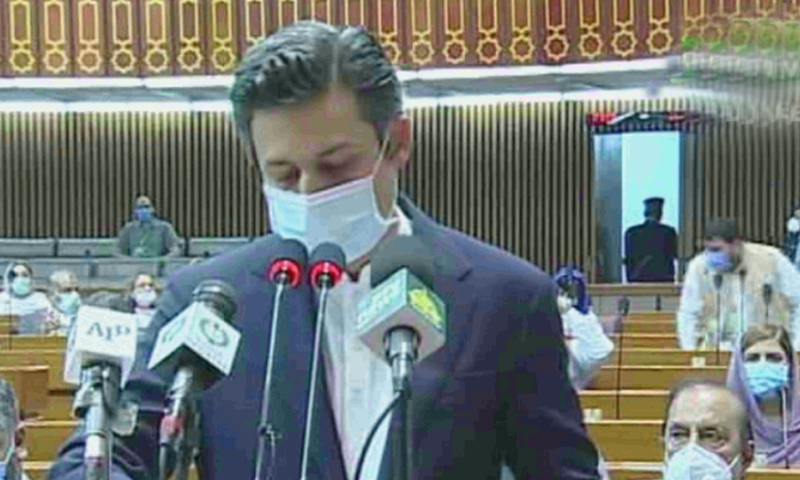 Minster for Industries Hammad Azhar presented the federal budget for the fiscal year 2020-21. — DawnNewsTV