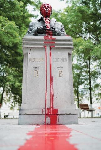 BRUSSELS: A vandalised statue of King Baudouin of Belgium (1930–1993) in Brussels.—AFP