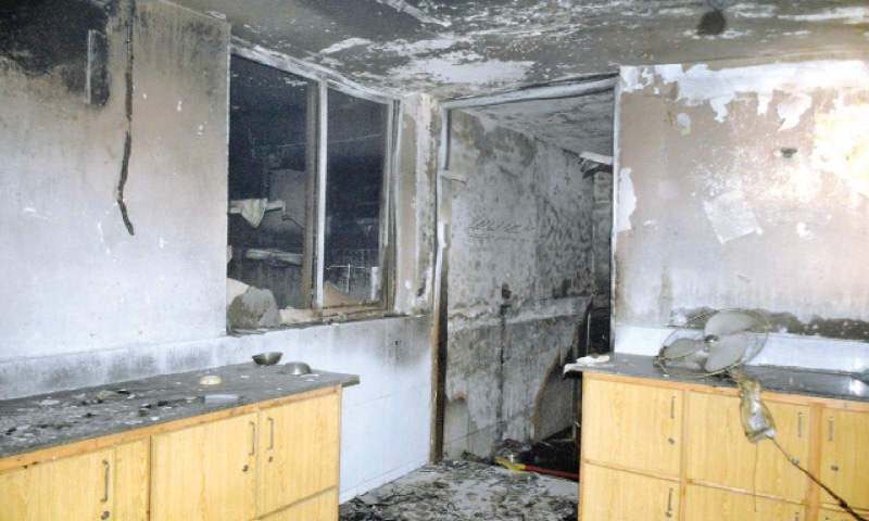 A portion of the emergency ward of the Services Hospital after the fire that erupted there reportedly due to a short circuit. — Online