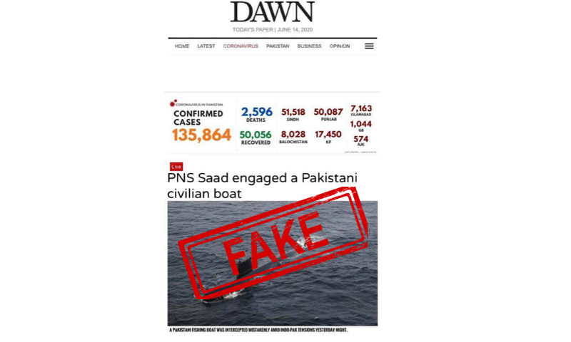 A screenshot of the doctored Dawn.com homepage and fake news story.