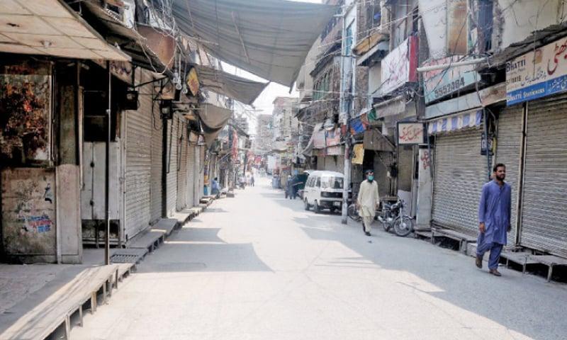 Urdu Bazaar in Rawalpindi gives a deserted look on Sunday. — White Star