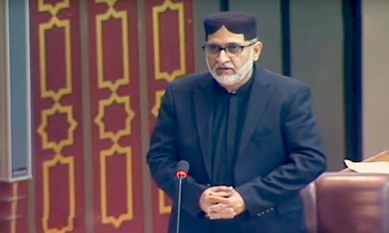 BNP-M chief Sardar Akhtar Mengal speaking in the National Assembly session. — DawnNewsTV