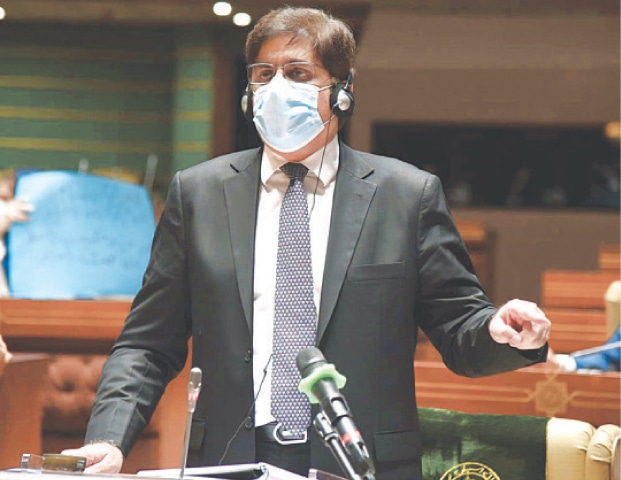 SINDH Chief Minister Syed Murad Ali Shah presenting the budget on Wednesday.—PPI