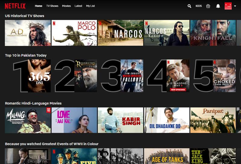 پاکستان میں نیٹ فلیکس کے ویب پورٹل پر ٹاپ ٹین میں سب سے اول نمبر پر جو فلم موجود ہے، اس کا نام '365 دن' ہے