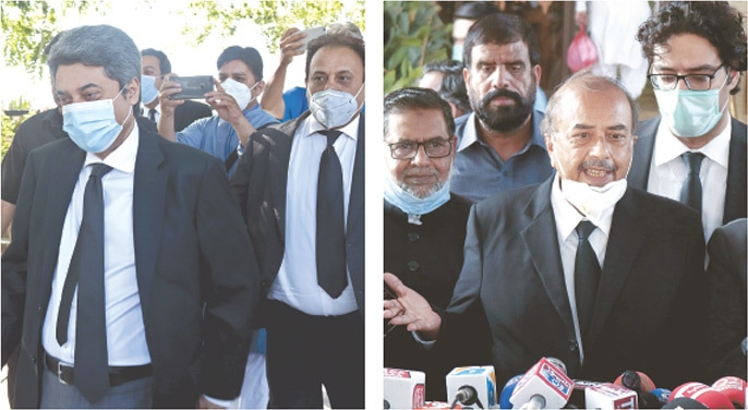 ISLAMABAD: Government's counsel Dr Farogh Naseem (left) leaves the Supreme Court after the announcement of verdict in the presidential reference on Friday and (right) Munir A. Malik, counsel for Justice Qazi Faez Isa, speaking to reporters outside the SC building.—Tanveer Shahzad / White Star
