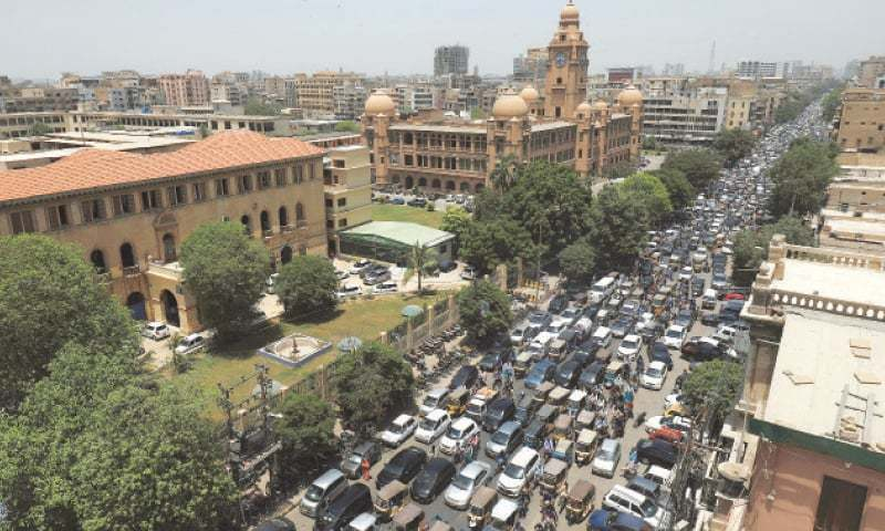 KARACHI: A general view of traffic on the M.A. Jinnah Road after the government lifted the weeks-long countrywide lockdown. — Reuters/File