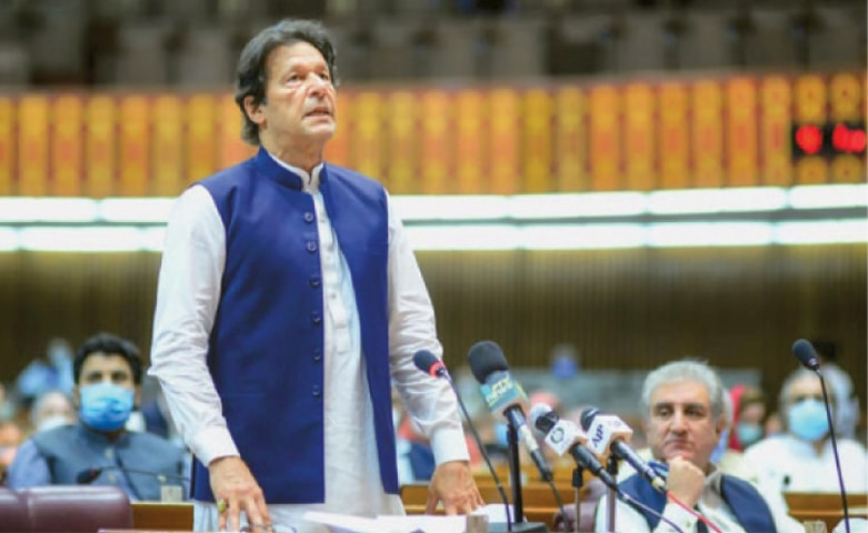 PRIME Minister Imran Khan making a speech during the National Assembly session on Thursday.—AFP