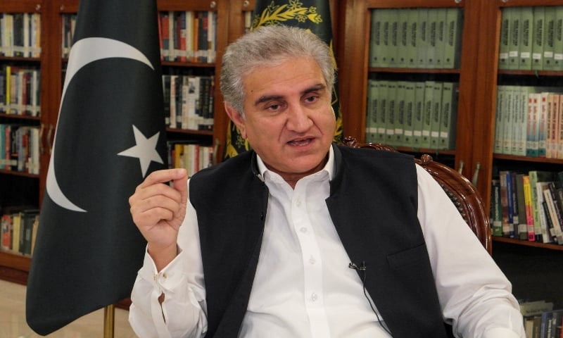 Foreign Minister Shah Mahmood Qureshi gestures as he speaks during an interview with Reuters at the Ministry of Foreign Affairs office in Islamabad on June 25, 2020. — Reuters