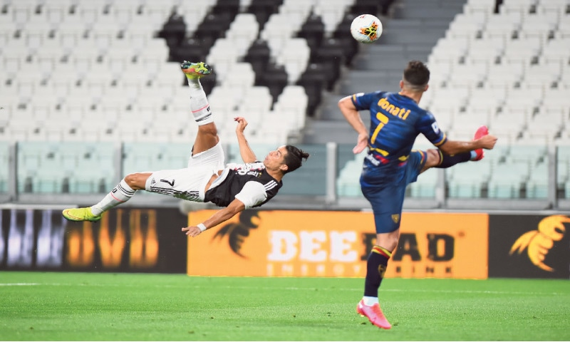 JUVENTUS' Cristiano Ronaldo shoots at goal with an overhead kick during the Serie A match against Lecce at the Allianz Stadium.—Reuters