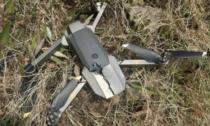 """The quadcopter had intruded 850 metres on Pakistan's side of the LoC, said the military's media wing. — Photo courtesy ISPR"