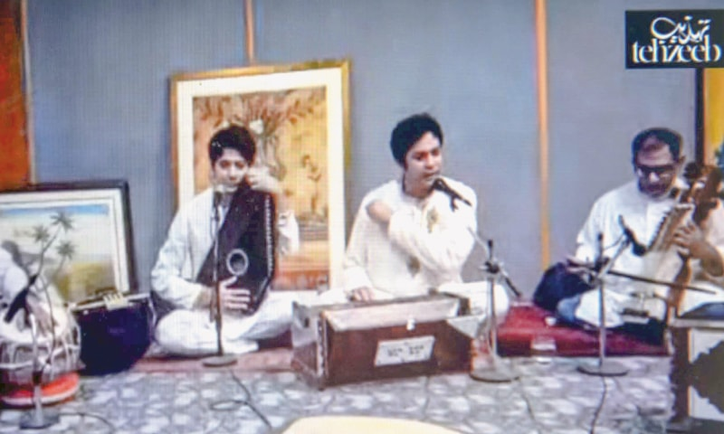 Nayab Ali and Inaam Ali Khan from Lahore perform on the second day of Tehzeeb Festival.—White Star