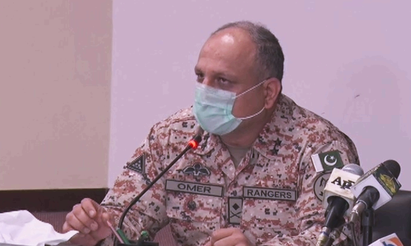 Sindh Rangers Director General Omer Ahmed Bukhari addresses a press conference. — DawnNewsTV