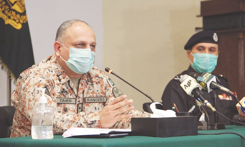 Maj Gen Omer Ahmed Bukhari, DG Rangers, Sindh, speaks at the press conference on Monday.—Online