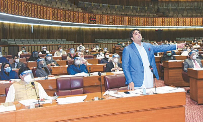 ISLAMABAD: PPP chairperson Bilawal Bhutto-Zardari speaking in the National Assembly on Monday.—White Star