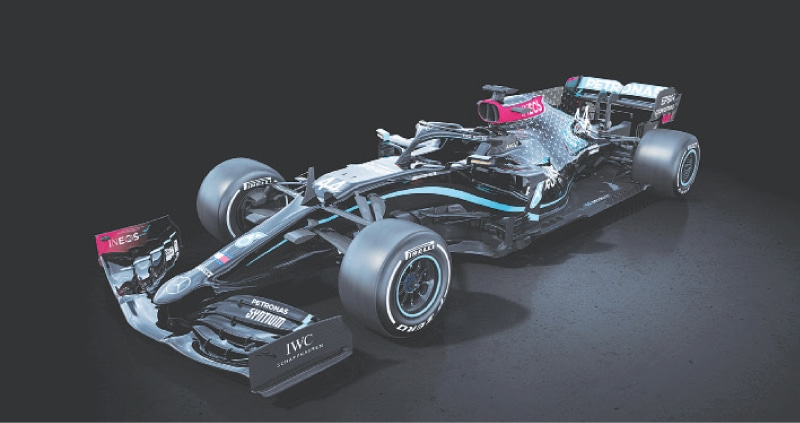 A black-liveried Mercedes Formula One car for the 2020 season is seen in a handout image released on Monday as part of a pledge to improve diversity within the team and the world of motorsport.—Reuters