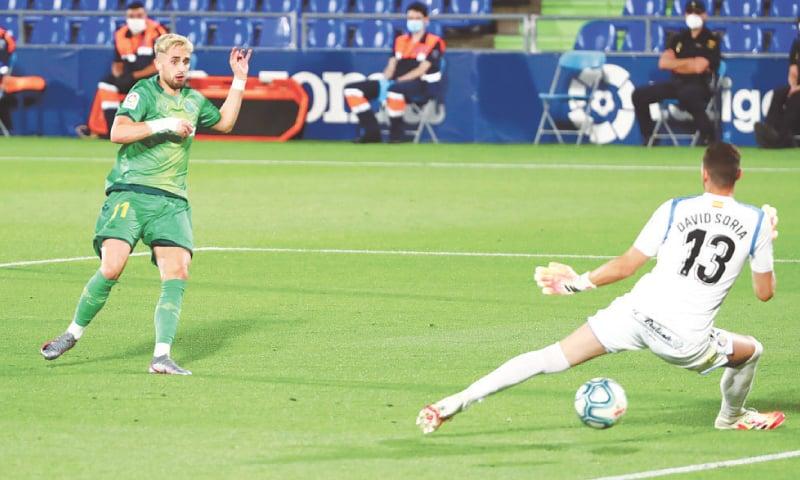 GETAFE: Real Sociedad's Adnan Januzaj scores a goal against Getafe during their La Liga match at Coliseum Alfonso Perez.—Reuters