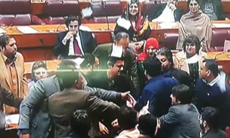The opposition members staged a walkout after chaos in NA. — DawnNewsTV/File