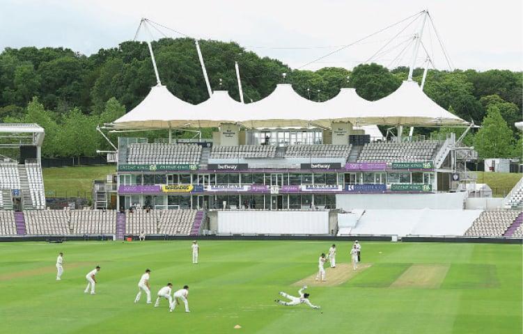 SOUTHAMPTON: A general view as the first ball is bowled during England's intra-squad warm-up match at the Ageas Bowl on Wednesday.—AP