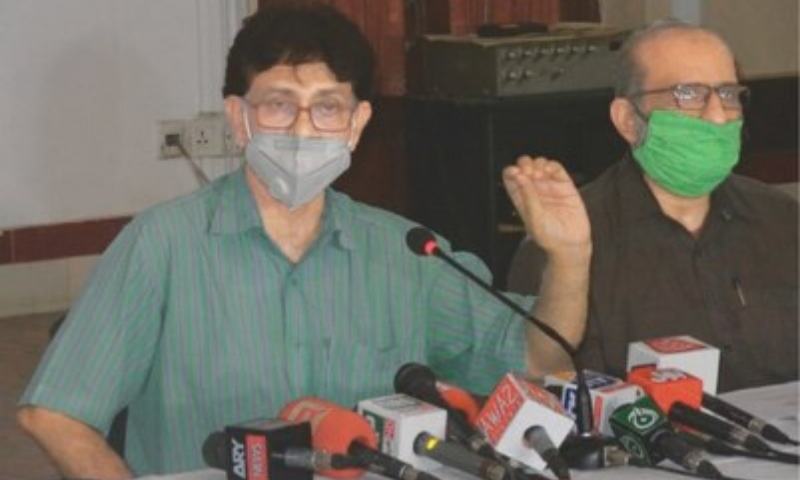 Dr Qaiser Sajjad speaks at the press conference on Wednesday.