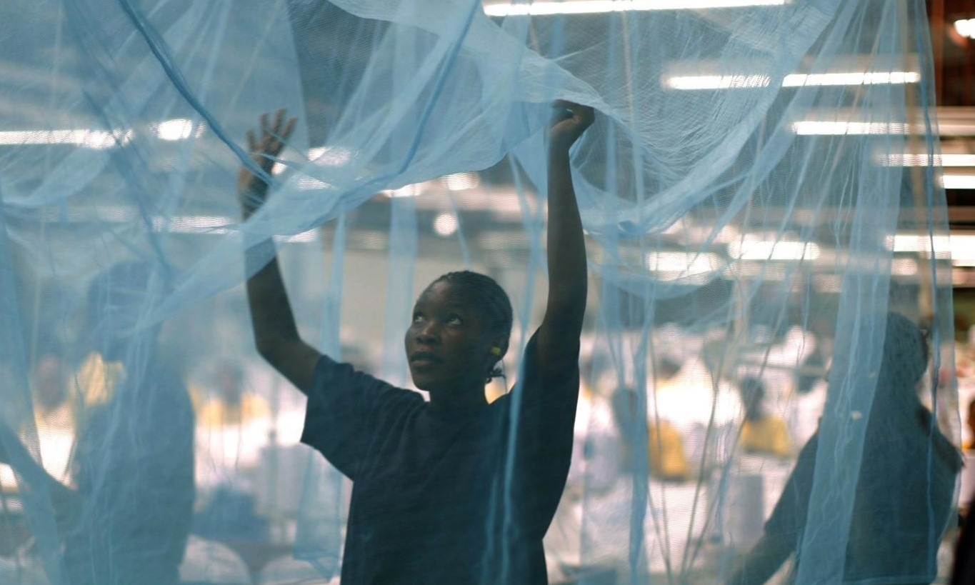 A worker looks for holes in mosquito netting at a textile mill in Arusha, Tanzania, February 18, 2008.  — Reuters