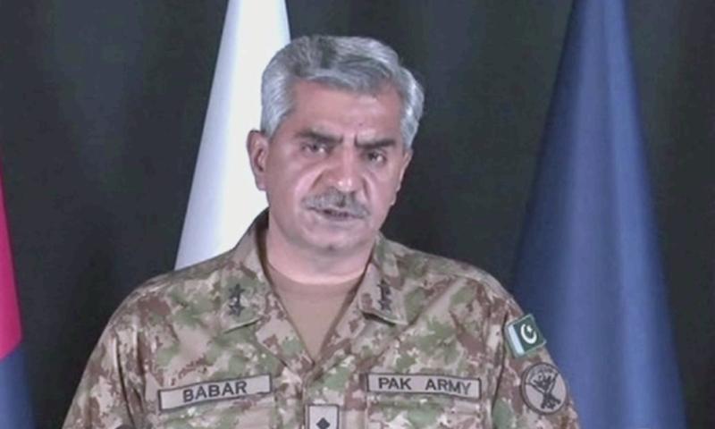 """We also vehemently deny presence of Chinese troops in Pakistan,"" DG ISPR Maj Gen Babar Iftikhar says. — DawnNewsTV/File"