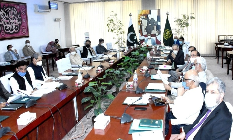 Adviser to PM on Finance Dr Abdul Hafeez Sheikh chairs a CCoP meeting in Islamabad on Thursday. — Photo: Finance Division