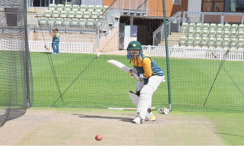WORCESTER: Pakistan batsman Babar Azam bats during a training session at New Road on Thursday.—courtesy PCB