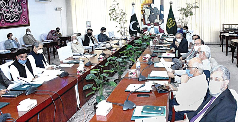 ISLAMABAD: Adviser to the Prime Minister on Finance and Revenue Abdul Hafeez Shaikh chairing a meeting of the Cabinet Committee on Privatisation on Thursday.—APP