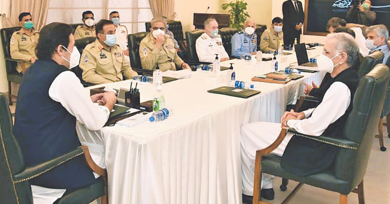 Prime Minister Imran Khan chairs a meeting that reviewed the internal and external security situation on Friday.—PPI