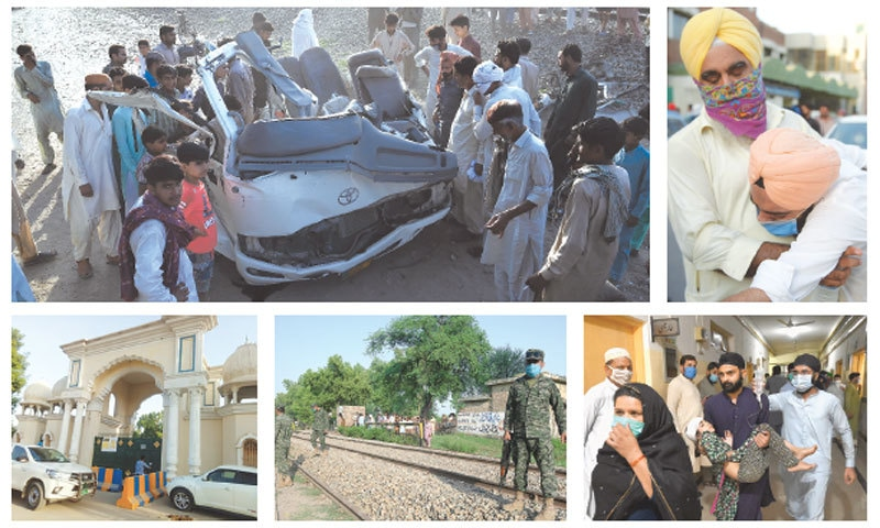 (Clockwise): Local people gather around the wreckage of the van carrying Sikh pilgrims after it was hit by the train in the Farooqabad area of Sheikhupura district on Friday. A man consoles a relative of the deceased at the Sheikhupura DHQ hospital. An injured girl being taken to the hospital. Rangers personnel gather at the level crossing where the accident took place. The Sucha Soda temple that the pilgrims visited before the tragedy.—Arif Ali and Murtaza Ali / White Star