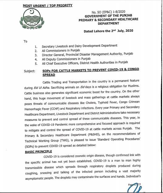 Punjab health department's notification detailing SOPs for Eidul Azha.