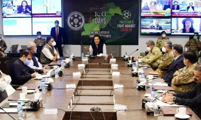 PM Imran Khan chairs a meeting at the NCOC on Saturday. — Photo: PM Office