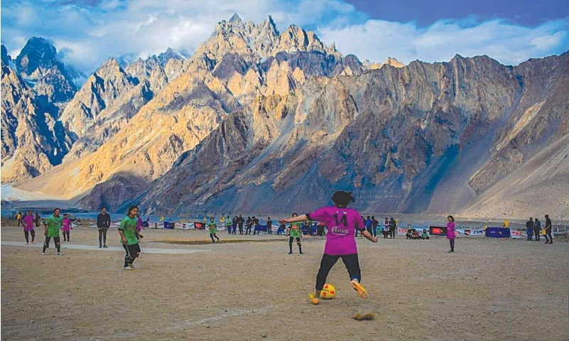 Team Sost (in purple) against Team Passu (in green) amid the picturesque mountains of Hunza | Photos courtesy: GBGFL