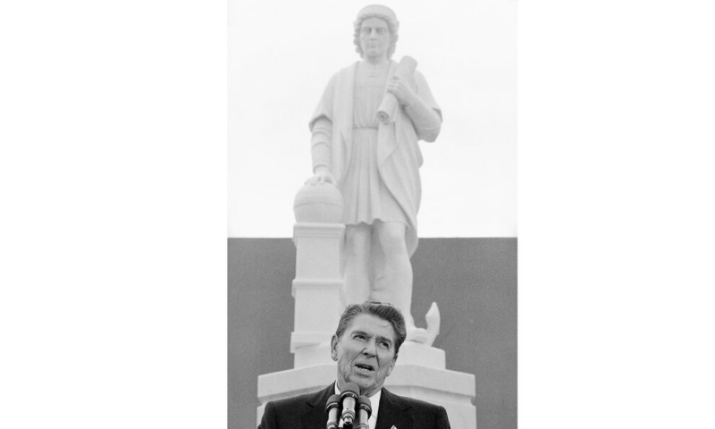 In this Monday, Oct 9, 1984, file photo, President Ronald Reagan addresses a ceremony in Baltimore, to unveil a statue of Christopher Columbus. — AP
