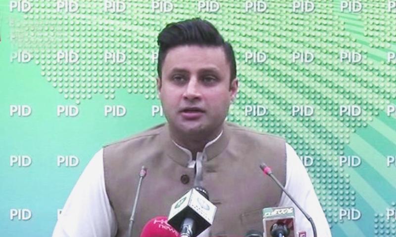 SAPM Zulfiqar Bukhari addressing a news conference in Islamabad in Sunday. — DawnNewsTV