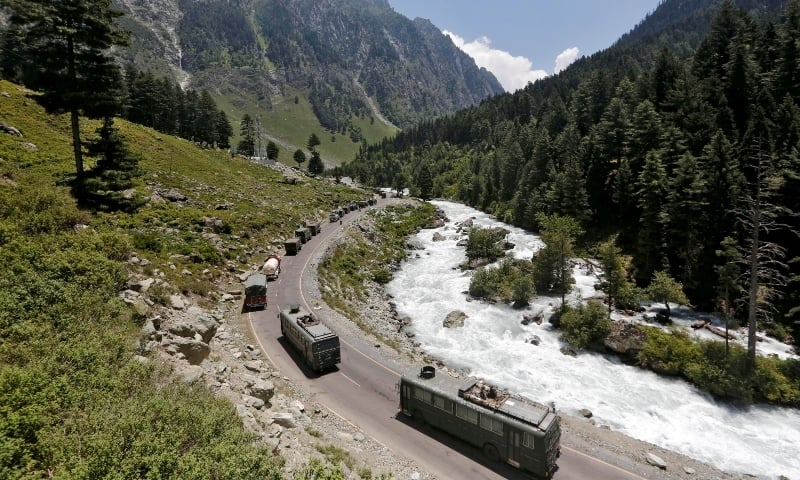 In this file photo, an Indian Army convoy moves along a highway leading to Ladakh on June 18. — Reuters