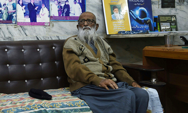 In this photograph taken on February 15, 2016, Abdul Sattar Edhi, the head of Edhi Foundation sits in his office in the port city of Karachi. — AFP/File