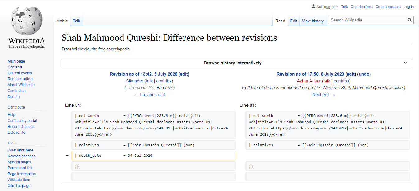 A screenshot of the changes made to the foreign minister's Wikipedia page.