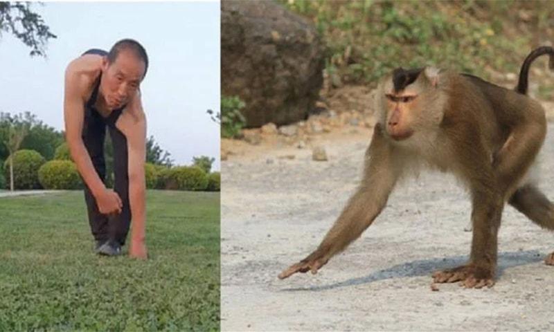 چینی شخص نے دعویٰ کیا کہ وہ اس طرح ورزش کی بدولت صحت مند رہتے ہیں— فوٹو: اسکرین شاٹ/اے ایف پی