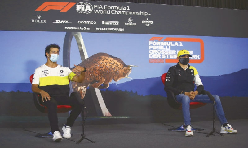 SPIELBERG: Renault drivers Daniel Ricciardo of Australia (L) and Esteban Ocon of France attend a news conference at the Red Bull Ring racetrack on Thursday.—AP