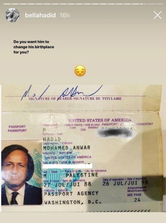 ماڈل نے تین دن قبل والد کے پاسپورٹ کی تصویر شیئر کی تھی، جس میں فلسطین واضح لکھا ہوا تھا—اسکرین شاٹ