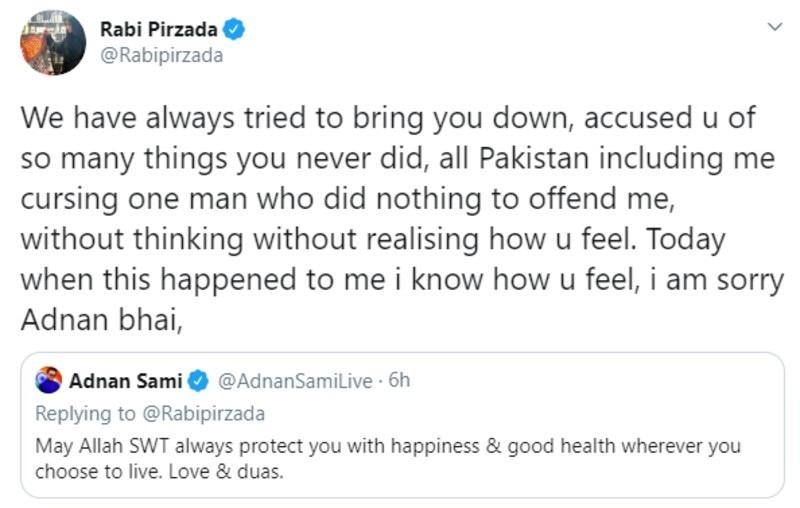 رابی پیرزادہ کی مک چھوڑنے کی خواہشات پر عدنان سمیع نے ان کے لیے نیک خواہشات کا اظہار کیا—اسکرین شاٹ