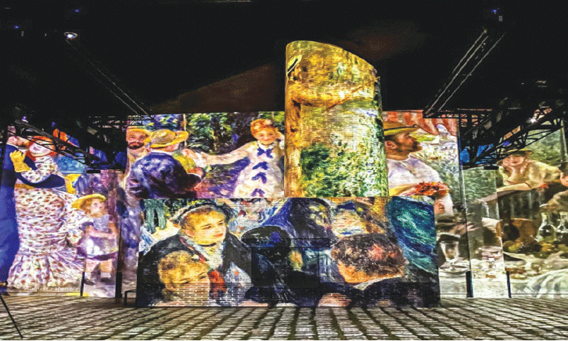 A projection of well-known paintings on walls and pillars