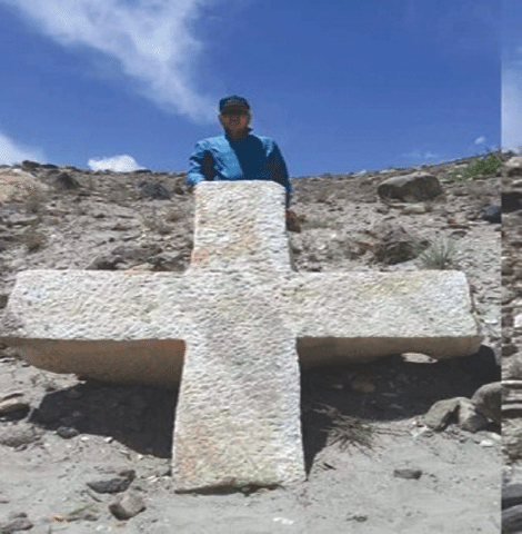 A photo of the marble cross discovered in Skardu, as printed in a newspaper| Courtesy Salman Rashid