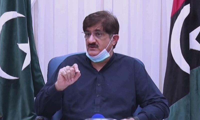 Sindh Chief Minister Murad Ali Shah speaking to the media in Karachi. — DawnNewsTV