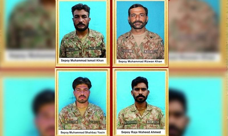 The martyred soldiers were identified as Sepoy Muhammad Ismail Khan, Sepoy Muhammad Shahbaz Yasin, Sepoy Raja Waheed Ahmed and Sepoy Muhammad Rizwan Khan. — Photo courtesy ISPR